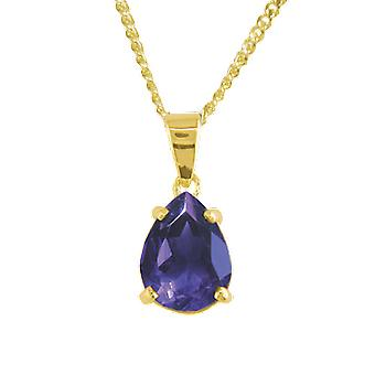 """Shipton and Co Ladies Shipton And Co 9ct Yellow Gold And Amethyst Pendant Including A 16"""" 9ct Chain PY1680AM"""