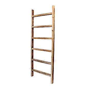 6 Step Rustic Weathered Grey Wood Ladder Shelf