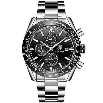 Mænds casual rustfrit stål kvarts ur (White Black Steel)