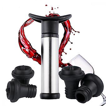 Wine Preserver With Four Wine Vacuum Stoppers (stainless Steel)