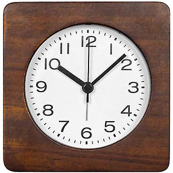3-inches Square Wooden Alarm Clock With Arabic Numerals, Non-ticking Silent, Backlight, Battery Operated, Brown