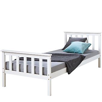 Bettgestell - Plattform - Betten - Modernes weißes Kiefernholz 206 cm x 96 cm x 62 cm
