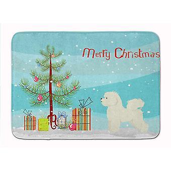 Bath mats rugs bichon frise christmas tree machine washable memory foam mat