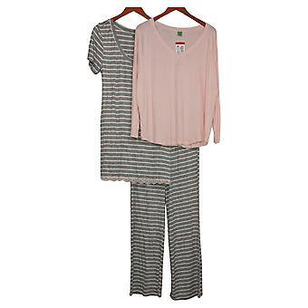 Honeydew Women's Pajama Set Set Of 3 Sleep Dress Top Pants Pink