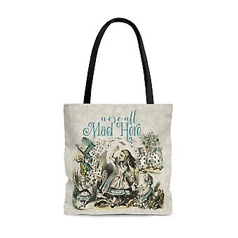 Premium polyester tote bag - alice in wonderland gifts #103 vintage series, different designs on each side | aesthetic & cute tote bag