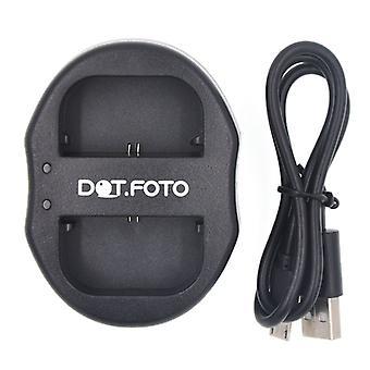 Dot.Foto Canon LP-E6, LP-E6N Dual USB caricabatteria per Canon EOS 5D Mark II, 5D Mark III, 5DS, 5DS R, 6D, 7D, 7D Mark II, 60D, 60Da, 70D, XC10
