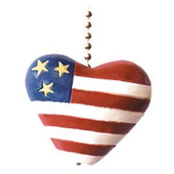 Czerwony biały Błękitną Flagą serca patriotyczne sufitu wentylatora naciągając