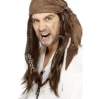 Bukanier pirátská paruka, hnědá