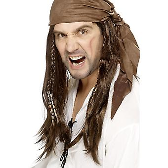 Buccaneer pirat peruk, brun