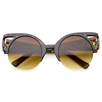 Women's Bold Round Lens Half Frame Cutout Cat Eye Sunglasses 50mm