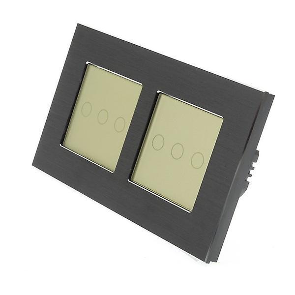 I LumoS Black Brushed Aluminium Double Frame 6 Gang 1 Way Touch LED Light Switch Gold Insert