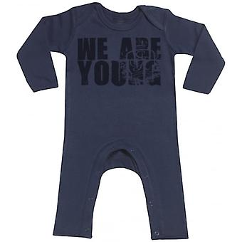 Spoilt Rotten We Are Young Navy Baby Footless Romper