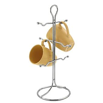 6 Cup Mug Chrome Tree Stand Rack Holder Kitchen Dining