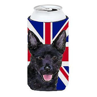 Kelpie australiano con inglés Union Jack británico bandera muchacho alto bebidas aislante