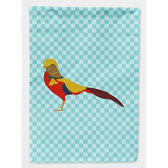 Golden or Chinese Pheasant Blue Check Flag Canvas House Size
