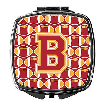 Letter B Football Cardinal and Gold Compact Mirror