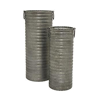Set of 2 Galvanized Metal Tall Planters / Vases