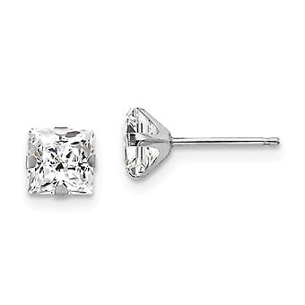 14k White Gold Polished Prong set 5mm Square CZ Cubic Zirconia Simulated Diamond Post Earrings Measures 5x5mm Jewelry Gi