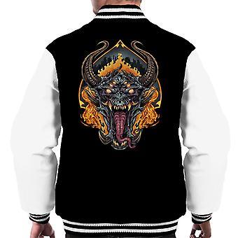 Demon Face And Fire Skulls Men's Varsity Jacket