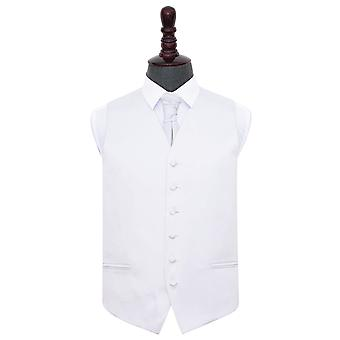 Valkoinen Plain Satiini liivi & Cravat Set