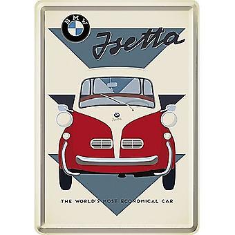 Bmw Isetta World'S Most Economical... Metal Postcard / Mini-Sign