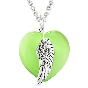 Guardian Angel Wing Inspirational Amulet Heart Green Simulated Cats Eye Pendant Necklace
