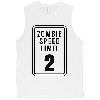 Zombie fartsgrensen Mens White muskel skjorte