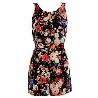 Ladies Sleeveless Pleated Flower Floral Print Belted Zip Back Romper Playsuit