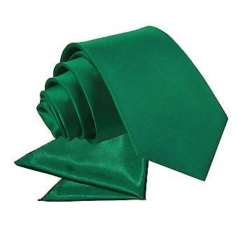 Emerald Green Plain Satin Tie & Pocket Square Set for Boys