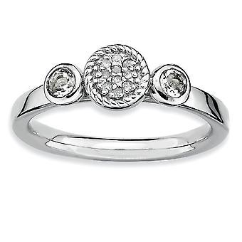 925 Sterling Silver Bezel Gepolijste Prong set Rhodium verguld stackable expressies Db Round White Topaz en Dia. Ring Jood