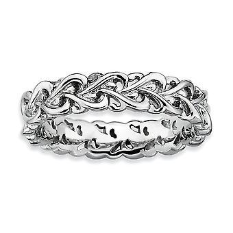 925 Sterling Silber gemustert stapelbare Ausdrücke poliert verflochten Liebe Herz Ring Schmuck Geschenke für Frauen - Ring