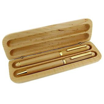 Gift Time Products Double Pen Box - Light Brown/Gold
