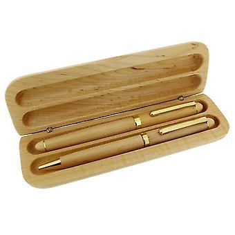 Temps produits stylo Double boîte - pâle Brun/or-cadeau