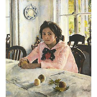 Meisje met perziken, Valentin Aleksandrovitsj Serov, 60x50cm