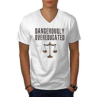 Anwalt erzogen Job Männer WhiteV-Neck T-Shirt | Wellcoda