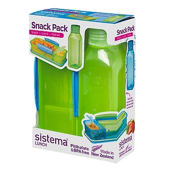 Sistema Snack-pakkaus, eväät ja vesipullo asettaa, kellanvihreä