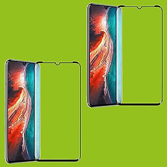 Pour Huawei P30 Lite - 2020 New Edition 2x 4D Full Curved Tempered Hard Glass Foil 0.3mm H9 Black Case