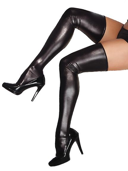 Coquette Darque Wet Look Thigh High Stockings One Size