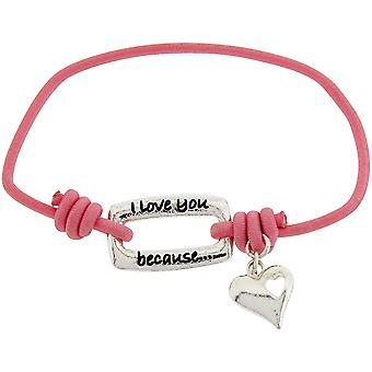 Toc Bandz I Love You Because...You Are An Incredible Mom Pink Stretch Bracelet