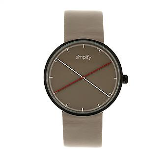 Simplify The 4100 Leather-Band Watch - Black/Grey