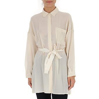 Semi-couture Y8au06023malga Women's White Silk Shirt