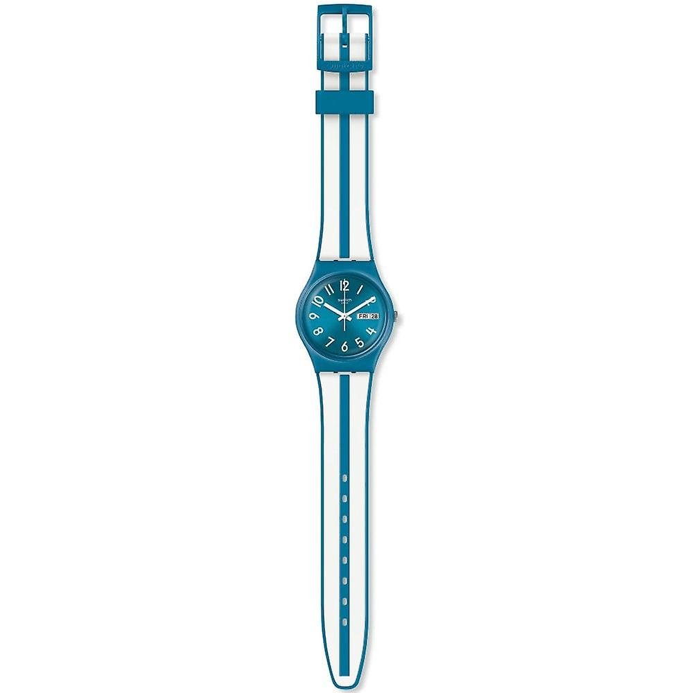 Swatch Gs702 Anisette Blue & White Stripe Silicone Watch