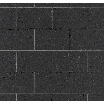 Black Tile Effect Glitter Wallpaper Vinyl Kitchen Bathroom Paste The Wall P+S