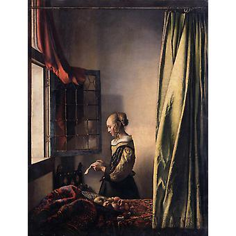 オープンで手紙を読む女の子、ヤン・フェルメール・ヴァン・デルフト、50x38cm