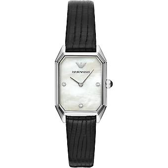 Emporio Armani Ar11148 deux mains en cuir noir dames montres