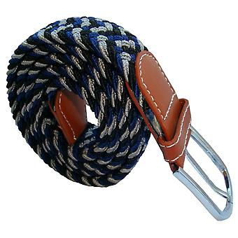 Bassin and Brown Three Stripe Elasticated Woven Belt - Navy/Black/Grey
