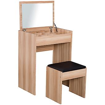 HOMCOM Chipboard Dressing Table Set Cushioned Stool Flip-up Mirror Multi-purpose - Wood Grain Colour