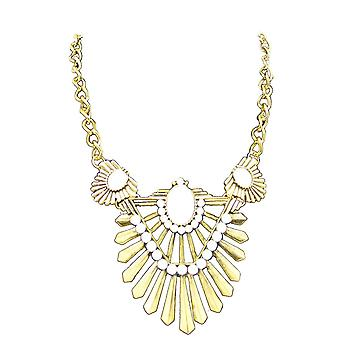 Gold ladies style jewel statement crystal bib choker collar necklace