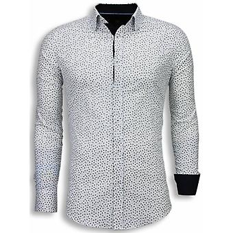 Italian shirts-Slim Fit Blouse-Leaves Pattern-White
