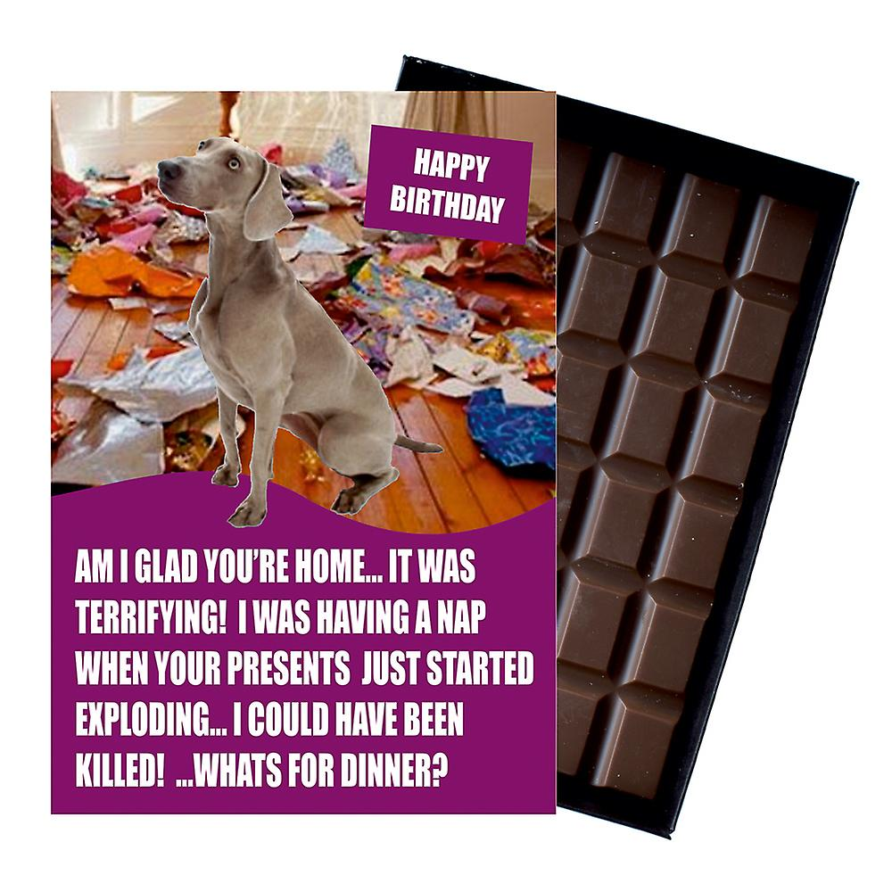 Weimarana Funny Birthday Gifts For Dog Lover Boxed Chocolate Greeting Card Present